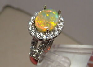 Australian Gem Grade Opal & 1.0 ct Diamond Ring 14k White Gold  - Free Re size