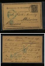 Colombia  nice cancel postal card to Germany   1898    MS0915
