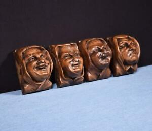 *Set of 4 French Antique Highly Carved Faces in Walnut Wood Trim