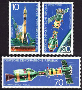 Germany DDR/GDR 1683-1685, MNH. Apollo Soyuz space test project, 1975
