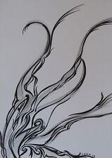 "Art Piece: ""Smoke"" 2012~Original Pencil+India Ink On Watercolor Paper 8.5x11""~"