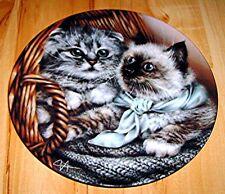 Baskets of Love HEATHER & HANNAH Siamese Tabby Cat Kitten Bradford Plate