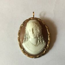 Vtg 9ct 9k Gold Carved Shell Cameo Brooch Pin Lady Lovely Carving Simple Frame