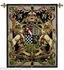 """Regal Coat of Arms Wall Tapestry  41"""" x 53""""  Medieval Crest Black Gold Red"""