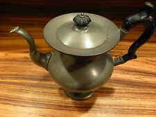 """Antique pewter tea pot 19th C.-old repair on the bottom, 9"""" tall [Y8-W7-A9]"""