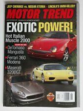 MOTOR TREND August 1999 DeTomaso Mangusta Ferrari 360 Modena Maserati 3200GT