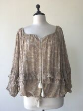 RALPH LAUREN DENIM SUPPLY Beige Cotton Blend Gauze Paisley Ruffle Peasant Top L