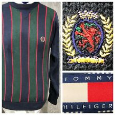 Vintage Tommy Hilfiger Knit Striped Sweater Size Small, Blue Red Green
