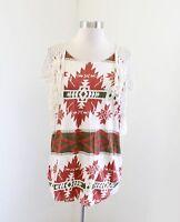 NWT Denim and Supply Ralph Lauren Aztec Print Fringe Crochet T-Shirt Top Tee XS