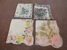 "Collectible Ladies Handkerchief Set 4 Print Pinks Blues 14"" Floral NICE"