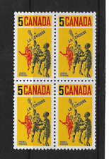 1968 CANADA - LACROSSE PLAYERS - BLOCK OF FOUR - MINT and NEVER HINGED.