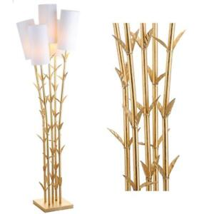 Floor Lamp 65.5 in 5-Light Arc Linen Gilded Faux-Bamboo Gold White Brass Plug-In