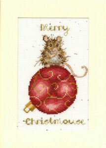 Bothy Threads Merry Christmouse Counted Cross Stitch Card Kit by Hannah Dale
