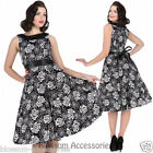 RKH86 Hearts & Roses Audrey Black and White Rose Rockabilly Dress 50s Retro Plus