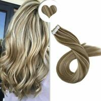 Ugeat 20Pcs Tape in Hair Extensions Remy Human Hair Brown Highlighed Blonde 50g