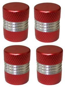 Red and Silver Round High Quality Metal Metallic Dust Caps Pack of 4 Caps