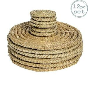 Round Straw Placemats & Coasters Dinner Water Hyacinth Weave - Palm Leaf - x12