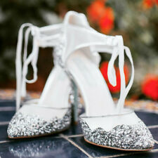 Betsey Johnson Stela Silver heels size 9 new in box bridal silver