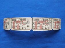Vintage 17 Cent Broad St Theatre Tickets (Strip of 4) Drive In Movie/Cinema - PA