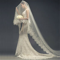 1.5/3 M White Cathedral Length Lace Edge Bride Wedding Bridal Long Veil