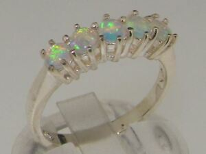 Solid 925 Sterling Silver Natural Opal Contemporary Style Band Ring