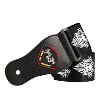 2535B GUITAR STRAP black tattoo comfortable rock metal line drawing TRIBAL FACE