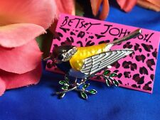 Betsey Johnson Gold Finch Enamel Rhinestone Bird Brooch Pin New