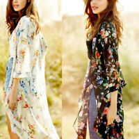 Long Wrap Shawl Boho Gypsy Loose Top Chic Flowy Floral Kimono Cardigan Duster US