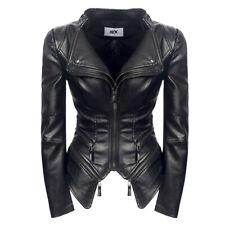 Women Sexy Punk Leather Jacket Power Shoulder Motorcycle Biker Coat Gothic S-3XL
