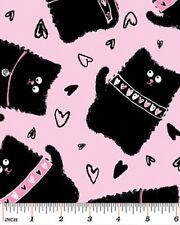 Fat Quarter Smudgy Cat Pink Cotton Quilting Fabric - Benartex