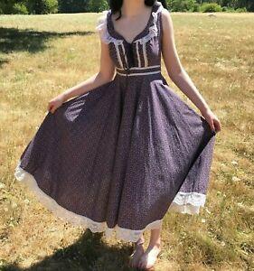 Vtg sz 7 Gunne Sax Jessica Cottagecore Floral Calico SUNDRESS Dress Navy Lace-Up
