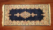 "49x23"" Antique VTG Distressed Navy Blue and Pink Wool Hand Knotted Iranian Rug"