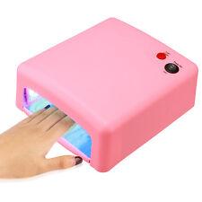 Pro 36W Pink UV Gel Nail Art Cure Curing Lamp Dryer & 4 pcs 9W Bulb 110V 220V