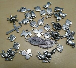 Various Small Silver Coloured Pendants / Charms - Home Crafting