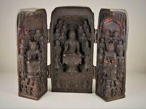 "Chinese traveling shrine tri-fold triptych Buddha Quan Yin resin 6.5"""