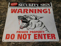 Vtg 1981 Metal SIGN Warning DOG Private Property Do Not Enter FOUR PAWS PRODUCTS
