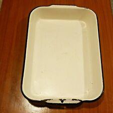 Vintage Yellow Enamelware Enameled Farmhouse Cake Pan 16x10 Baking Dish