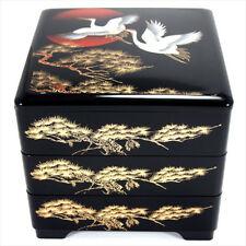 "Japanese Black Lacquer 3 Tiers Stack Box ""JUBAKO"" Hinode Tsuru / Food container"