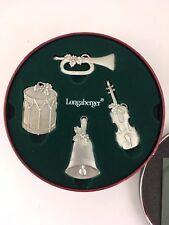 Longaberger Pewter Sounds of the Season Ornaments Set of 4 w Tin Drum Trumpet