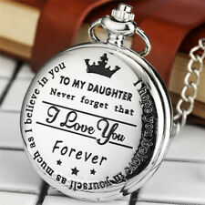 "Reloj de bolsillo ""a mi hija"" palabra de Cuarzo único láser Colgante Cadena Regalo Chica"