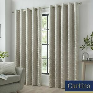 """Curtina Luxury """"Kendal"""" Geometric Print Fully Lined Eyelet Curtains Natural"""