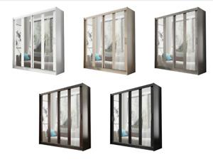 "New Bedroom Wardrobe ""AMIGO 1"" Sliding Doors Mirror Hanging Rail Shelves 180 cm"