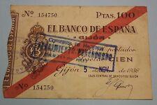 1936 GIJON 100 PESETAS BANCO DE ESPAÑA BANKNOTE SPAIN CIVIL WAR