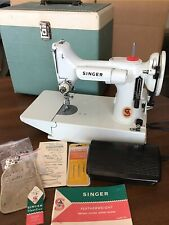 New ListingVintage Singer White Featherweight Model 221 K Portable Sewing Machine W Extras