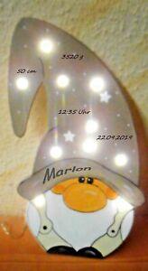 kleine LED Schlummerlicht Wichtel Lampe Zwerg  Geschenk Baby Geburt  Name Gnom