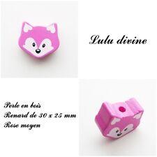 Perle en bois de 30 x 25 mm, Perle plate moyenne Tête de renard : Rose moyen