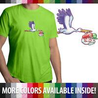 Stork w/ Baby Mario Luigi Yoshis Island Fun Mens Crew Neck Tee Unisex T-Shirt