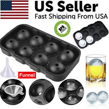 Black Round Silicon Ice Cube Ball Maker Tray 8 Large Sphere Molds Bar w/ Funnel