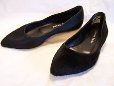 Simone Rocha Black Calf Hair pointy Flats Shoes Slippers Chains Removed 37 US6.5