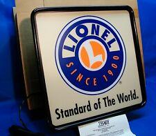 "Scarce 2002 Lionel 65960 White 18"" x 18"" TecArt Illuminated Dealer Sign, Mint/OB"